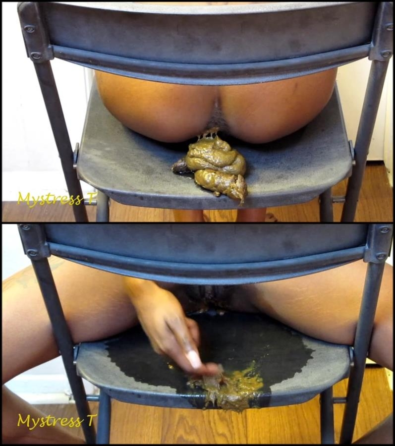 Ebony girl pooping on black chair - Special #167 (FullHD 1920x1080)
